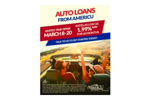 AmeriCU is offering a special 1.99% auto loan rate for 60 months from March 8th to the 20th for qualifying members!  It applies to new and used vehicles and can also be used to refinance an auto loan with another financial institution.  It's a limited time offer, available until March 20th!
